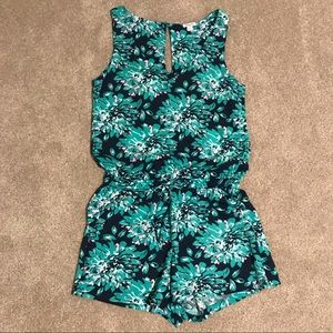 Splendid Green & Navy Floral Patterned Romper